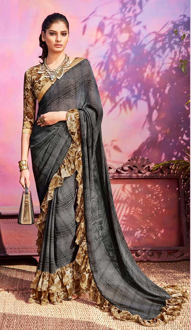 Dazzling Grey Color Georgette Casual Wear Saree Blouse -EV545771773