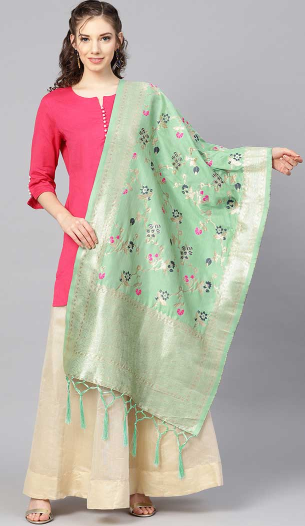 Adorable Pista Green Color Banarasi Silk Designer Dupatta -743591959
