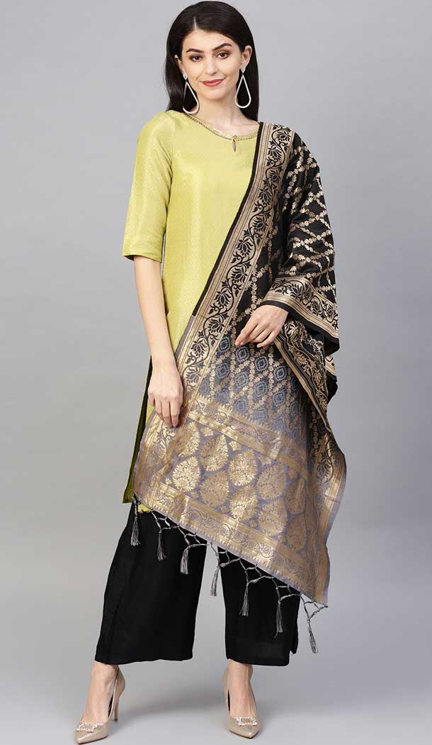 Splendorous Black Color Banarasi Silk Designer Dupatta -743591971