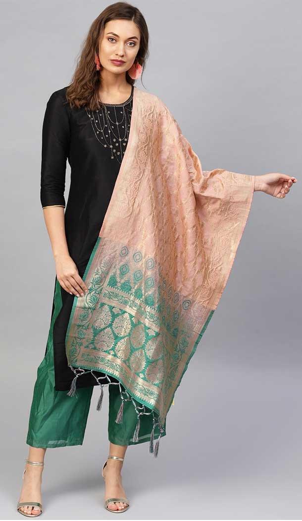 Mesmerizing Multi Color Banarasi Silk Designer Dupatta -743591979