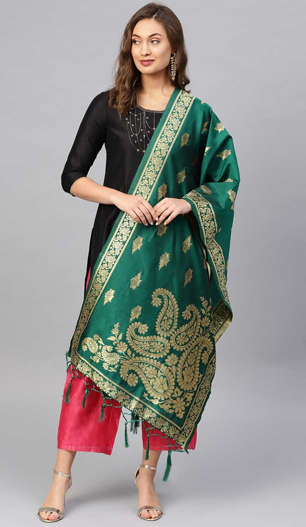 Wonderful Green Color Banarasi Silk Designer Dupatta -743591983