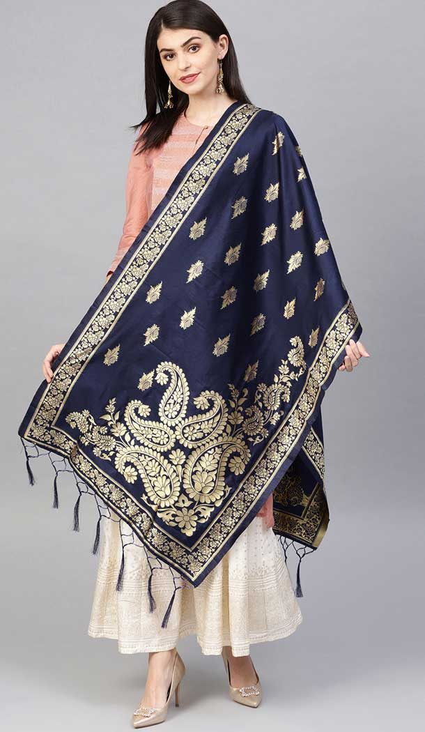 Charming Navy Blue Color Banarasi Silk Designer Dupatta -743591985