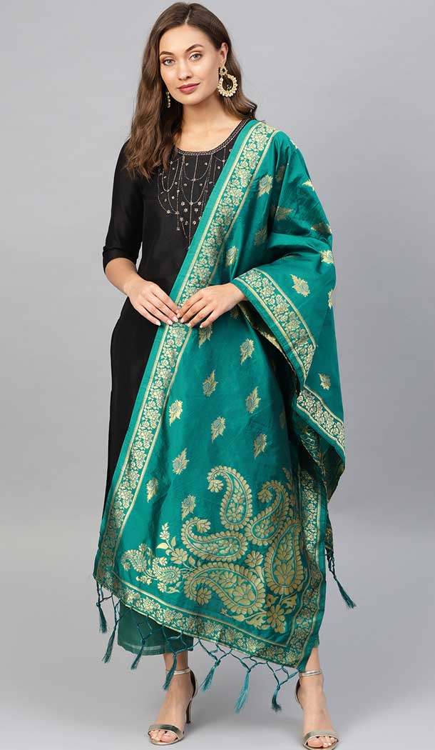Ravishing Rama Green Color Banarasi Silk Designer Dupatta -743591986