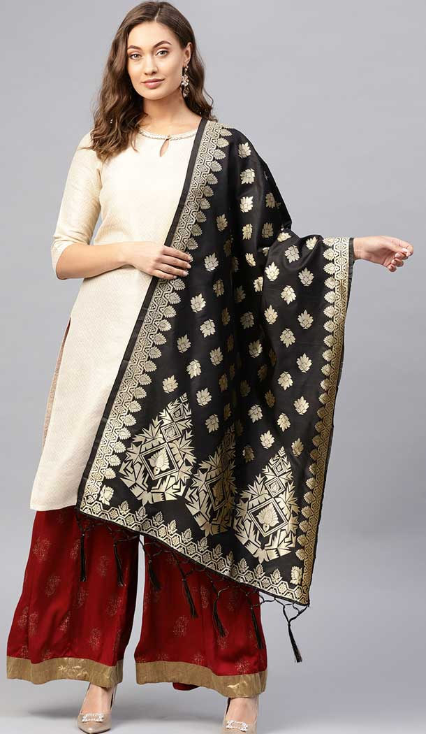 Marvelous Black Color Banarasi Silk Designer Dupatta -743591989