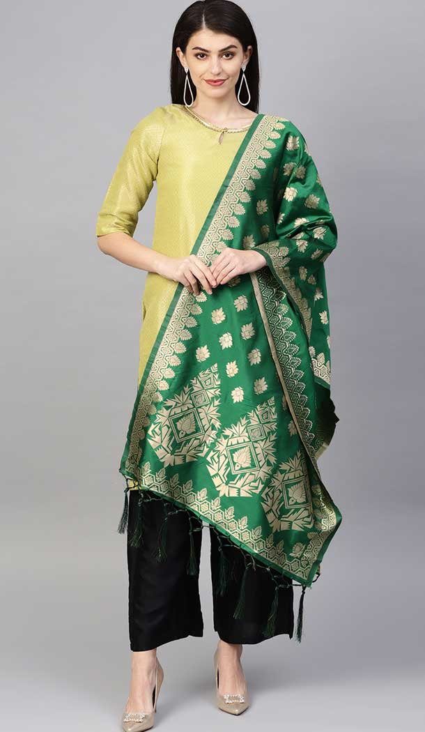 Charming Green Color Banarasi Silk Designer Dupatta -743591990