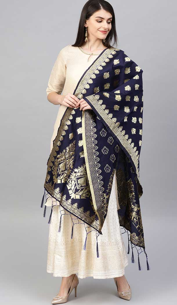 Adorable Navy Blue Color Banarasi Silk Designer Dupatta -743591991