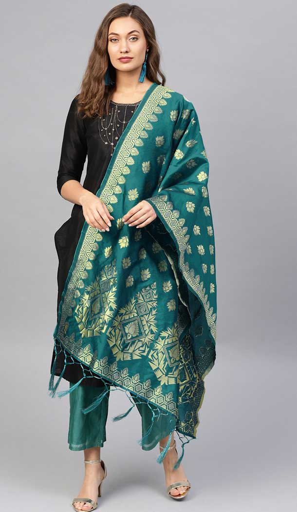 Charming Rama Green Color Banarasi Silk Designer Dupatta -743591992