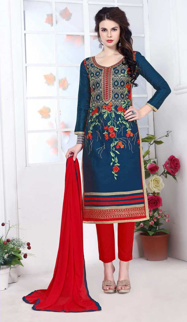 Alluring Blue Color Pure Glass Cotton Casual Office Wear Salwar Kameez -770294705
