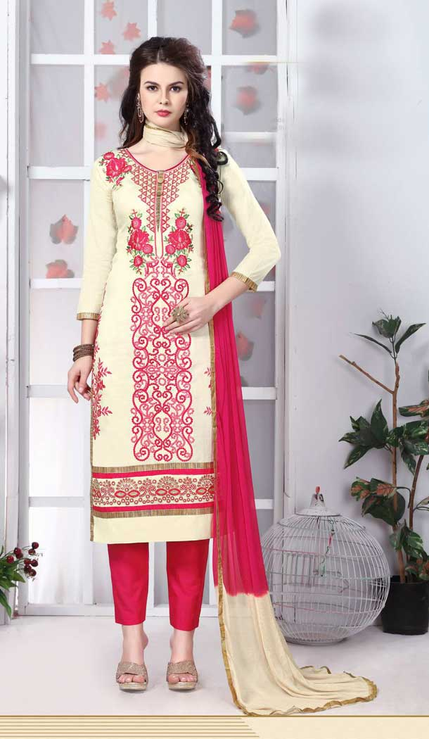 Off White Color Pure Glass Cotton Casual Office Wear Salwar Kameez -770294706