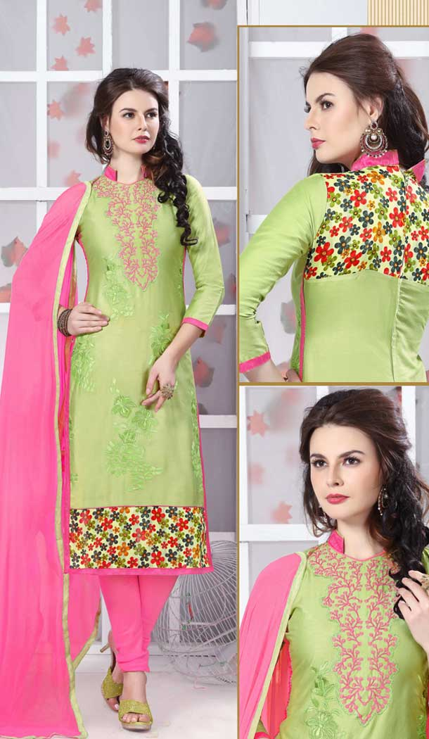 Lemon Green Color Pure Glass Cotton Casual Office Wear Salwar Kameez -770294709