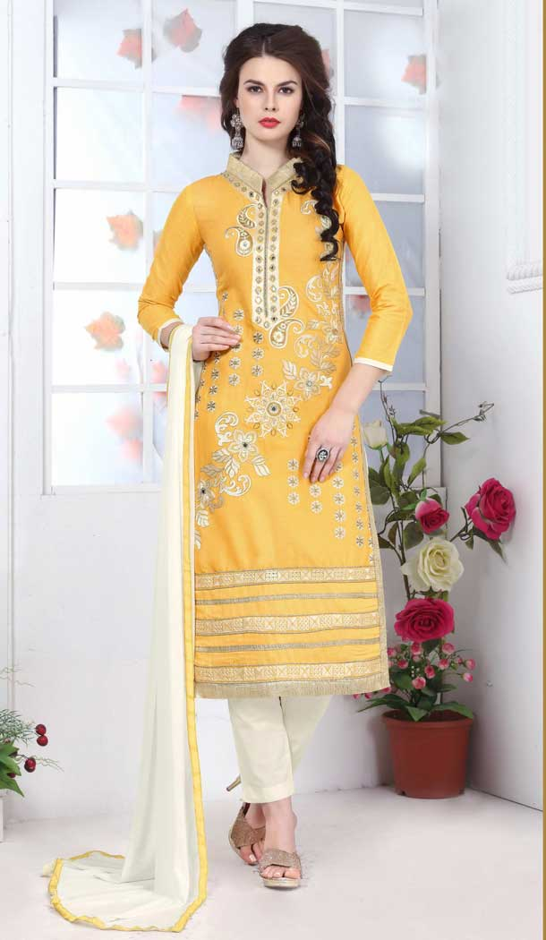 Outstanding Yellow Color Pure Glass Cotton Casual Office Wear Salwar Kameez -770294712
