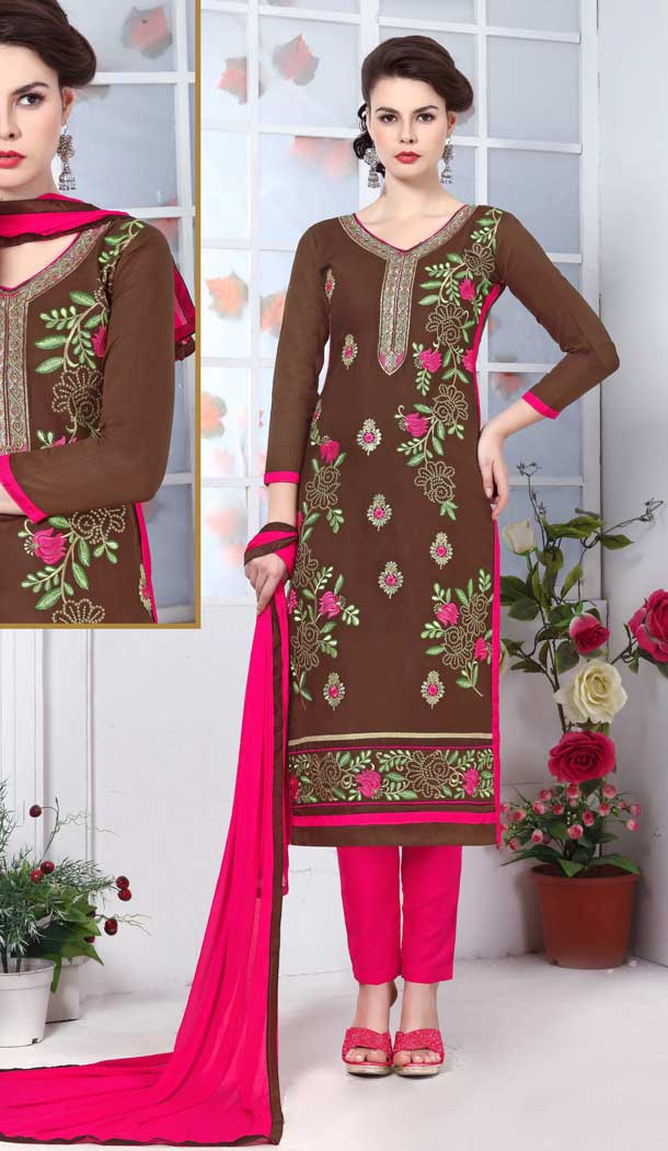 Brown Color Pure Glass Cotton Casual Office Wear Salwar Kameez -770294713