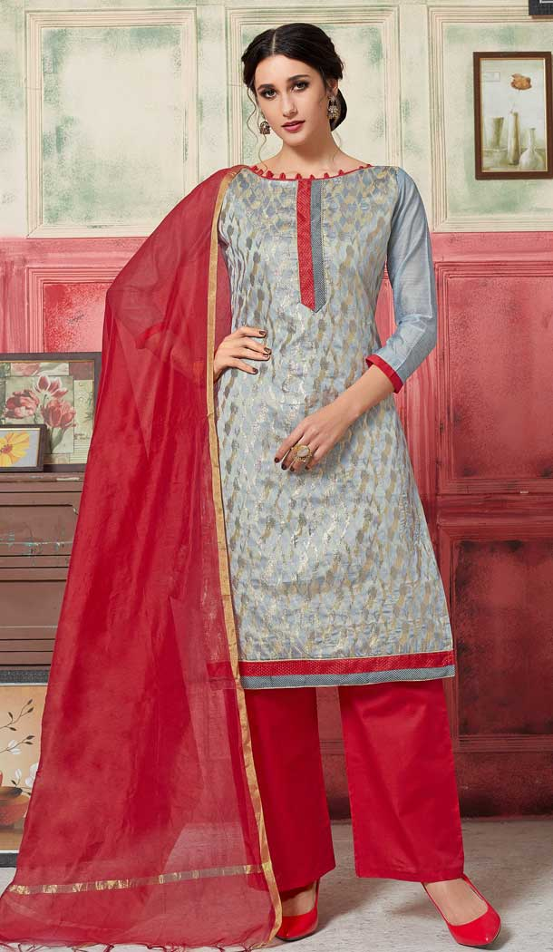 Scintillating Grey Color Fancy Jacquard Casual Wear Salwar Kameez -770394714