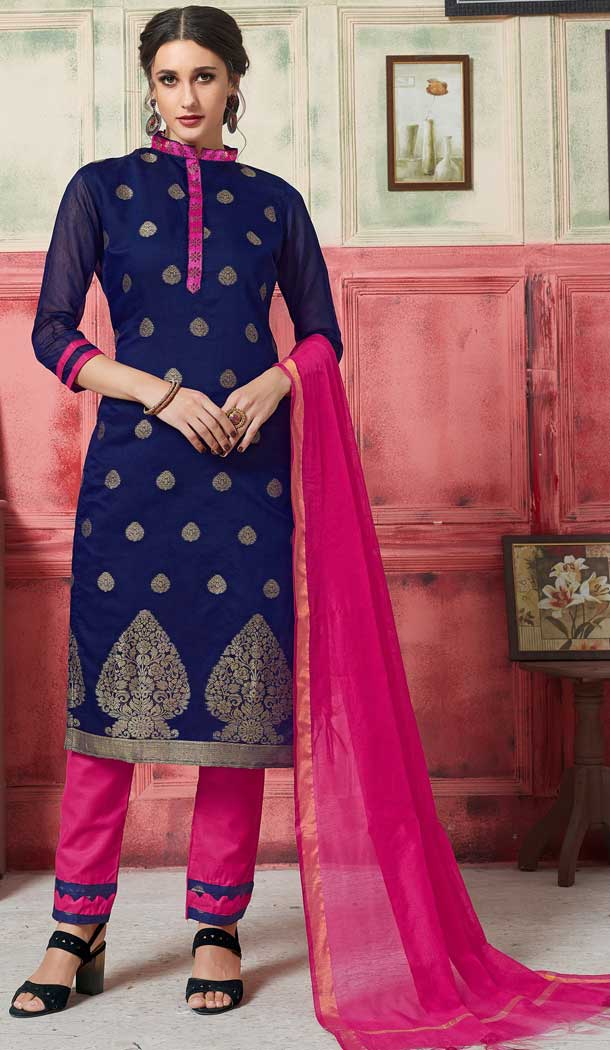 Alluring Blue Color Fancy Jacquard Casual Wear Salwar Kameez -770394715