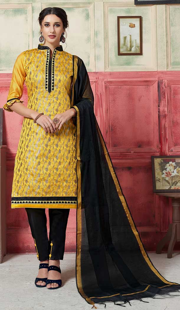 Sparkling Yellow Color Fancy Jacquard Casual Wear Salwar Kameez -770394716
