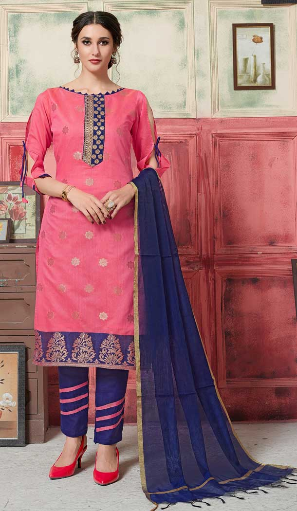 Splendorous Pink Color Fancy Jacquard Casual Wear Salwar Kameez -770394717