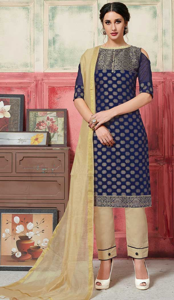 Chic Blue Color Fancy Jacquard Casual Wear Salwar Kameez -770394721