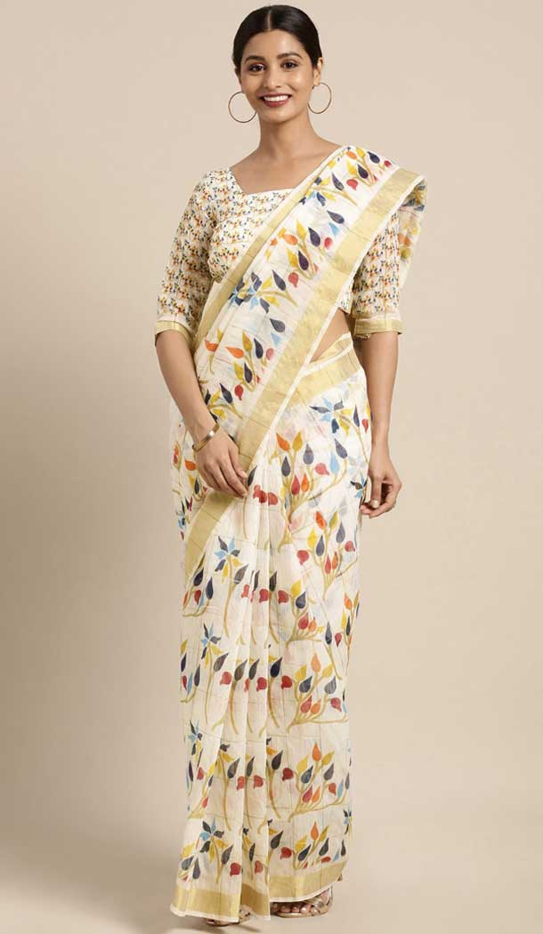 Ethnic Off White Color Chanderi Cotton Casual Wear Style Saree Blouse -773795095