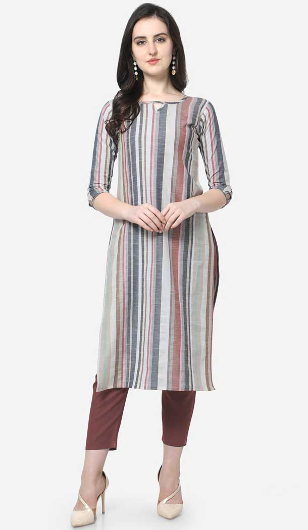 new latest designs of casual wear kurtis neck -773895107