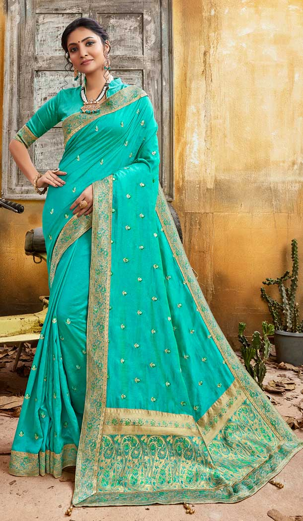 Aqua Blue Color Chanderi Silk Designer Party Wear Saree -774295134