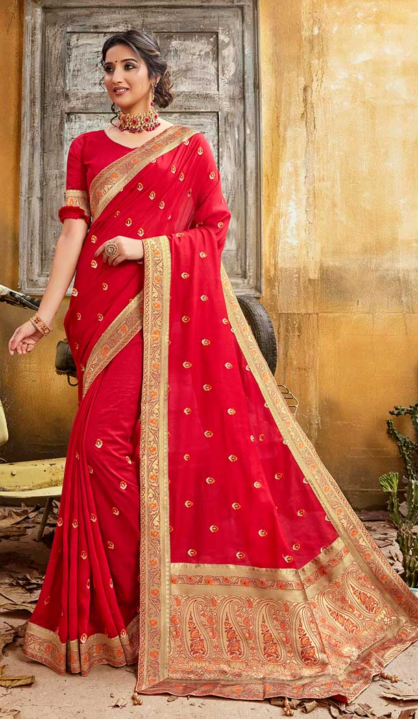 Beautified Red Color Chanderi Silk Designer Party Wear Saree -774295135