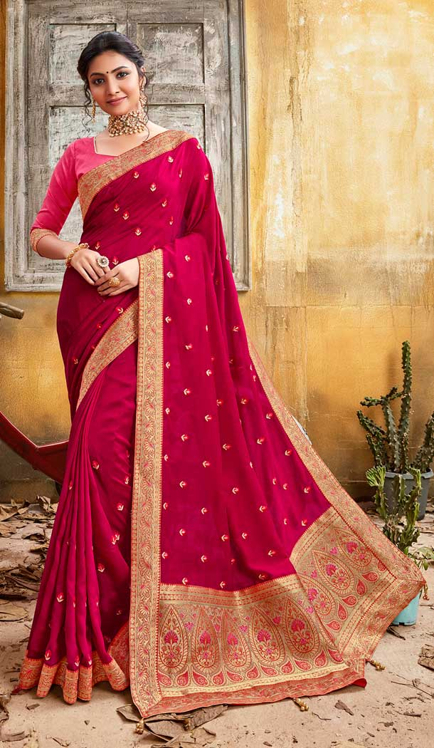 Rani Pink Color Chanderi Silk Designer Party Wear Saree -774295137
