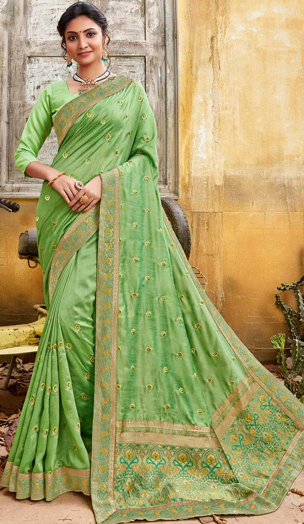 Pista Green Color Chanderi Silk Designer Party Wear Saree -774295138