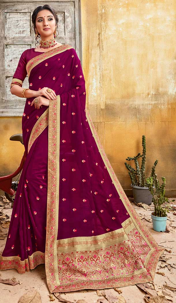 Elegance Violet Color Chanderi Silk Designer Party Wear Saree -774295139