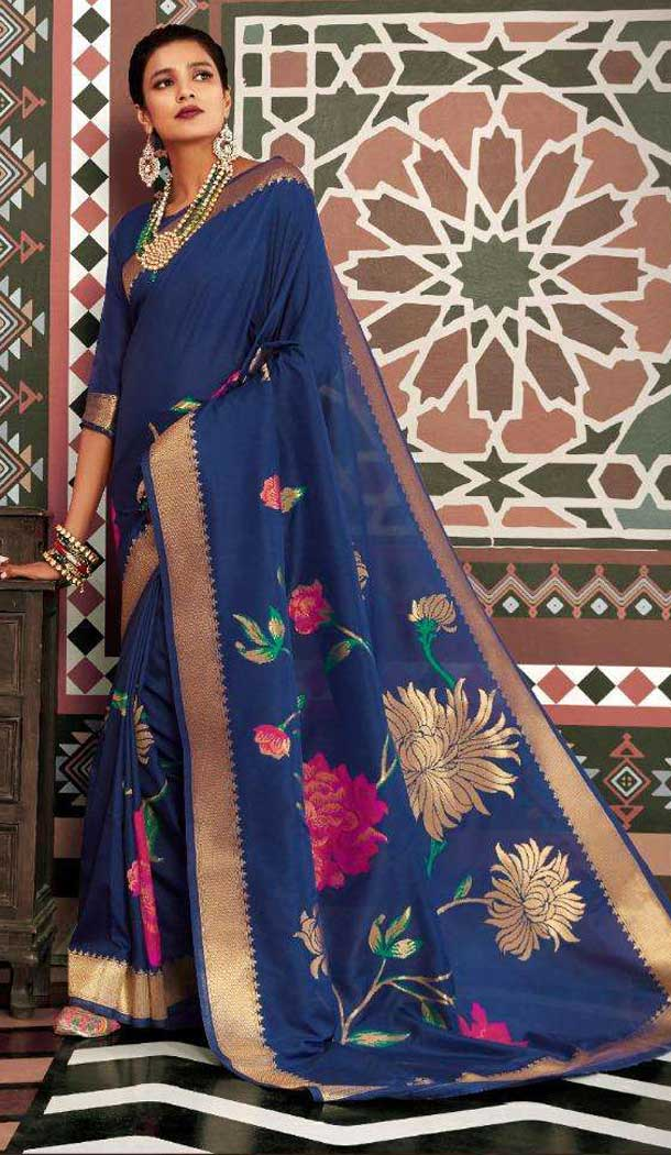 Blue Color Silk Weaving Designer Party Wear Saree -773395057