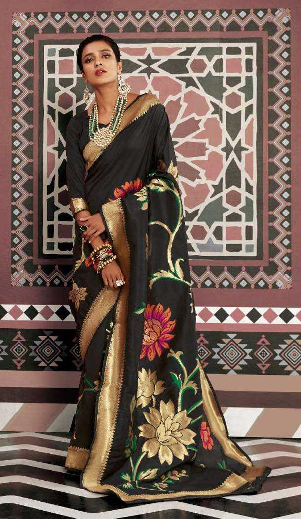 Traditional Black Color Silk Weaving Designer Party Wear Saree -773395059