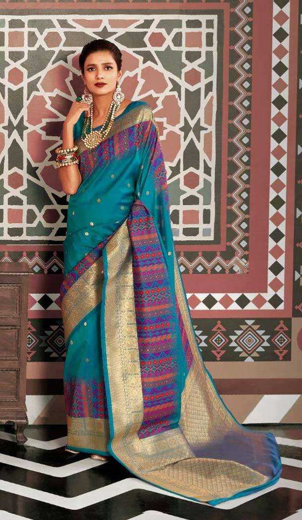 Teal Blue Color Silk Weaving Designer Party Wear Saree -773395061