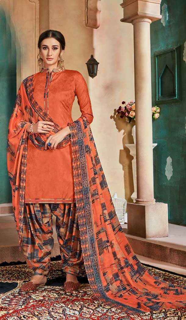 Tangerine Color Pure Cotton Jacquard Casual Wear Punjabi Suit -774895200