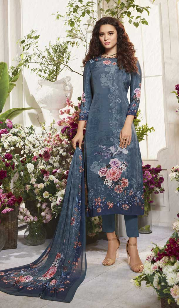 Flamboyant Multi Color Digital Printed Crepe Casual Wear Salwar Kameez -775195225