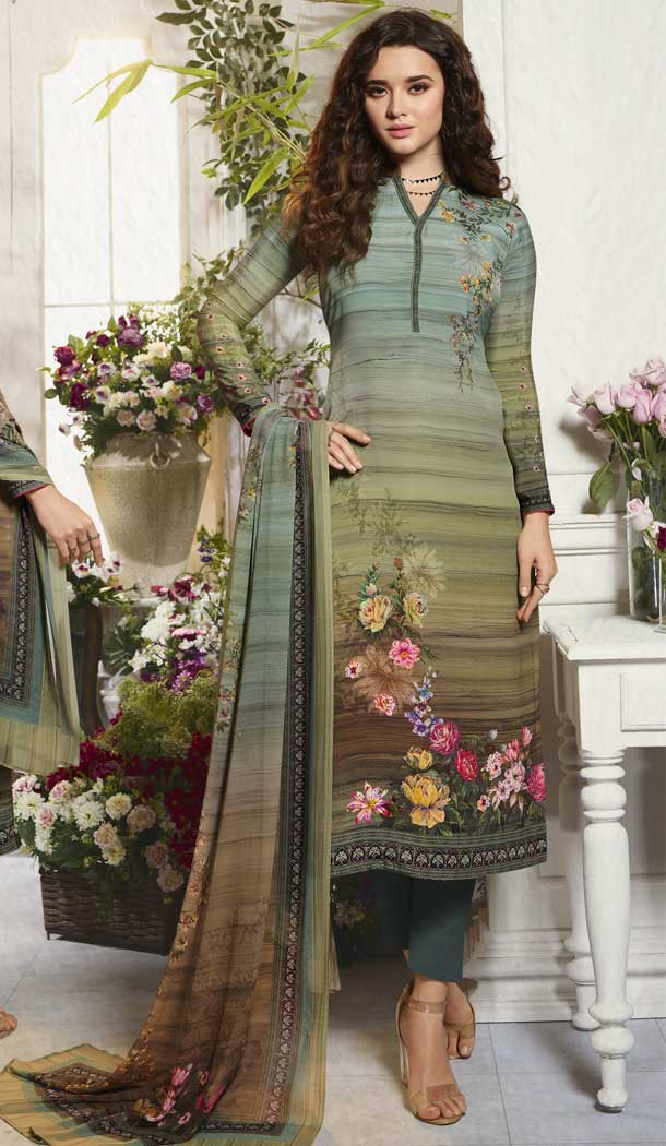 Vivacious Multi Color Digital Printed Crepe Casual Wear Salwar Kameez -775195229