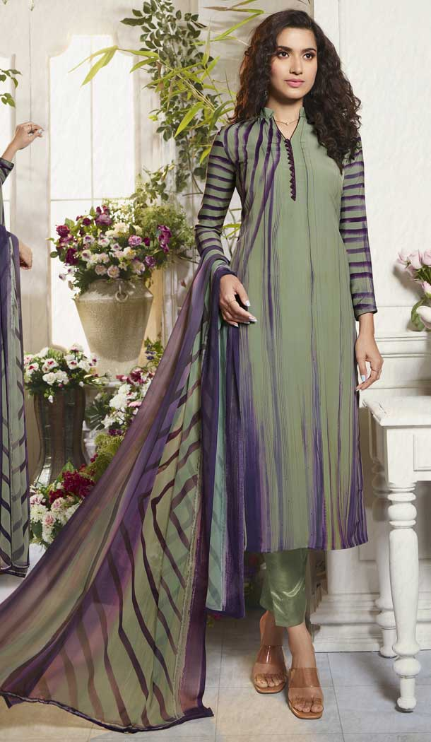 Styled Multi Color Digital Printed Crepe Casual Wear Salwar Kameez -775195230