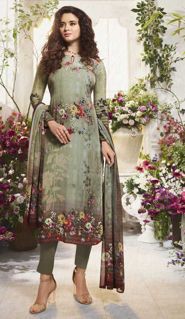Adorable Multi Color Digital Printed Crepe Casual Wear Salwar Kameez -775195233