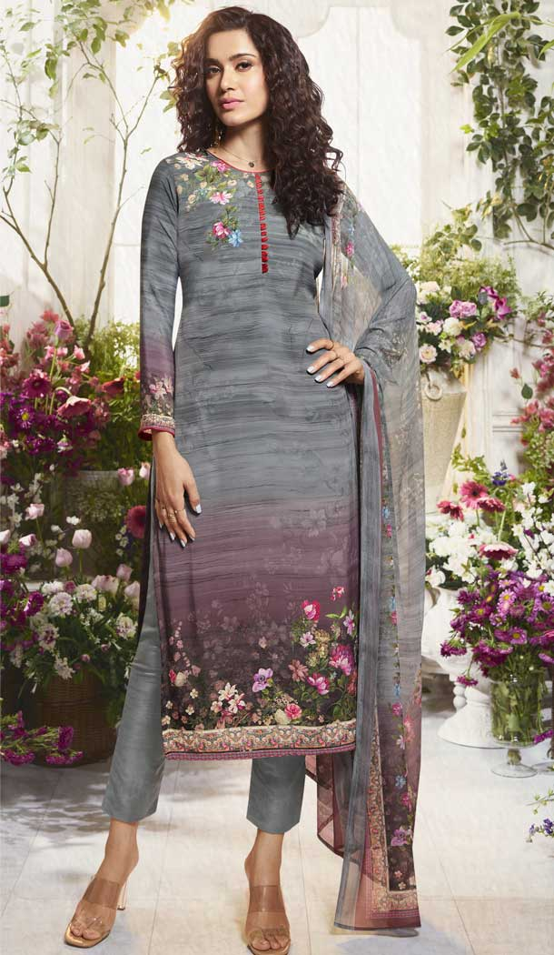 Tantalizing Multi Color Digital Printed Crepe Casual Wear Salwar Kameez -775195235