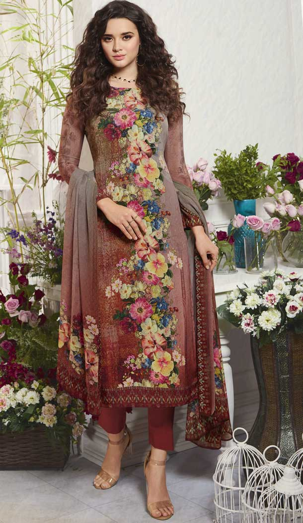 Scintillating Multi Color Digital Printed Crepe Casual Wear Salwar Kameez -775195236