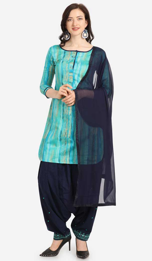 Aqua Blue Color Cotton Printed Casual Wea Punjabi Salwar Suit -775795339