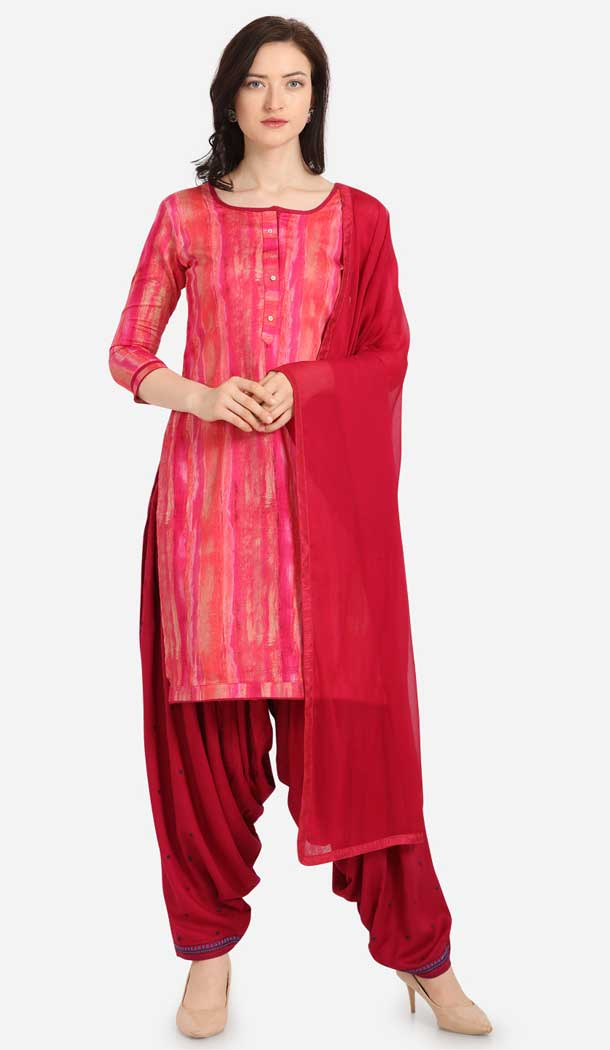 Pink Color Cotton Printed Casual Wea Punjabi Salwar Suit -775795340