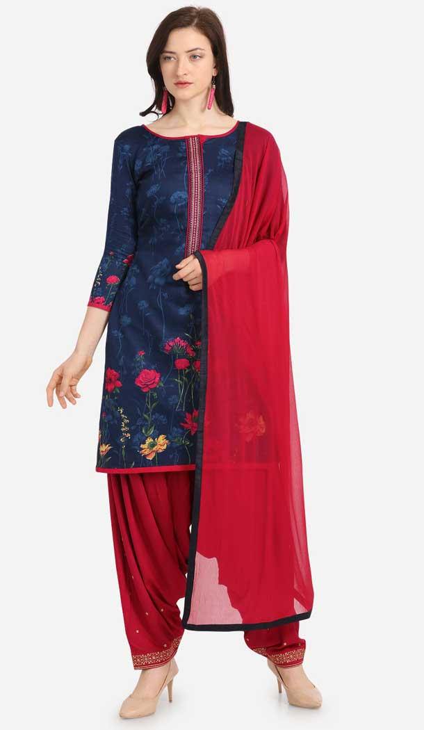 Luscious Navy Blue Color Cotton Printed Casual Wea Punjabi Salwar Suit -775795343