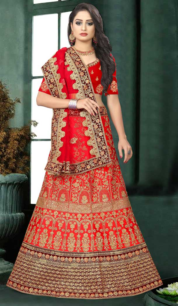 Aesthetic Red Color Satin Silk Designer Bridal Wedding Wear Lehenga Choli -777795535