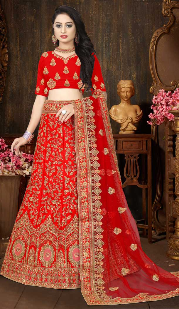 Alluring Red Color Satin Silk Designer Bridal Wedding Wear Lehenga Choli -777795542