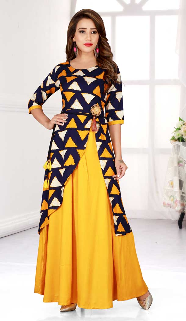 Yellow Navy Blue Color Heavy Rayon Designer Logn Readymade Kurti -777895562