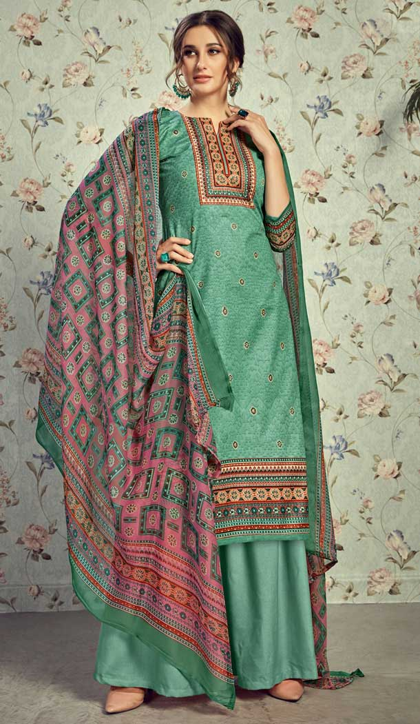 Fancy Green Color Pure Lawn Cottom Casual Wear Plazzo Suit -778595628