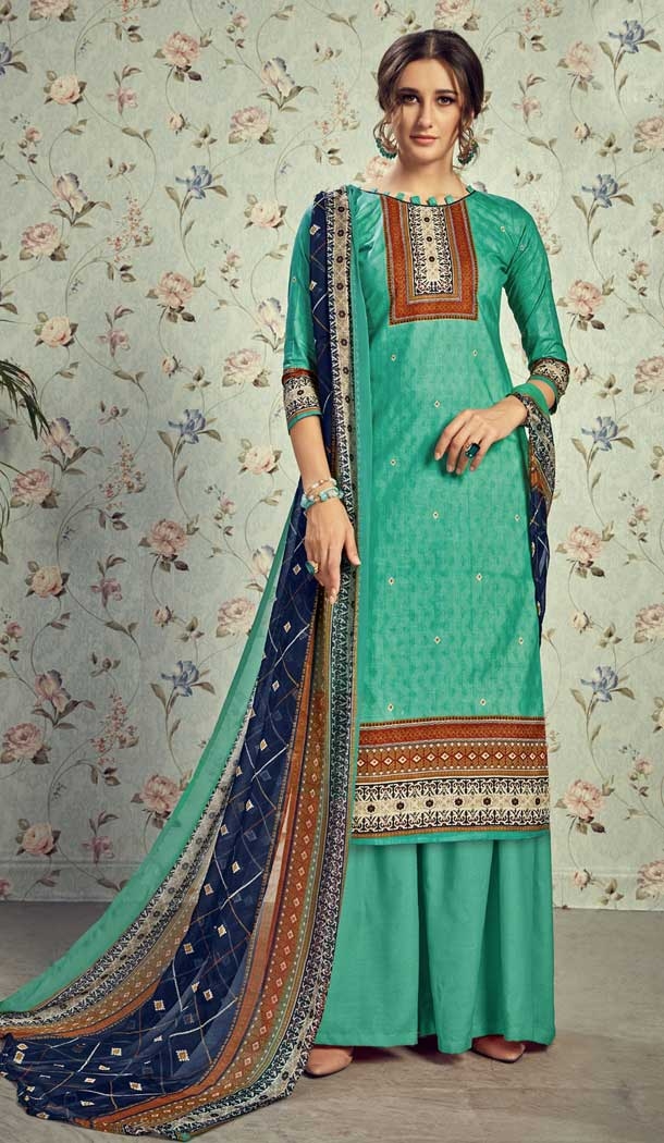 Charming Green Color Pure Lawn Cottom Casual Wear Plazzo Suit -778595631