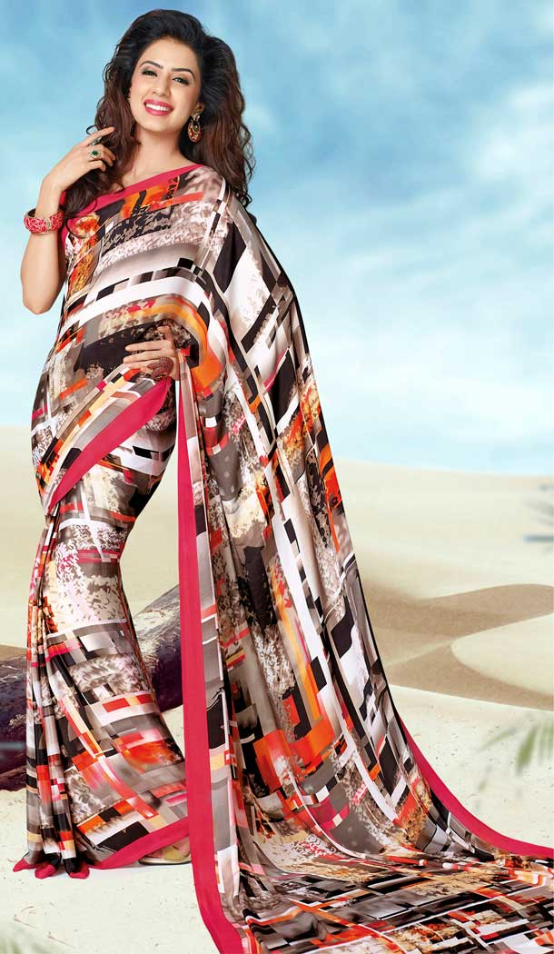 Enigmatic Multi Color Crepe Printed Casual Party Wear Saree -780595821