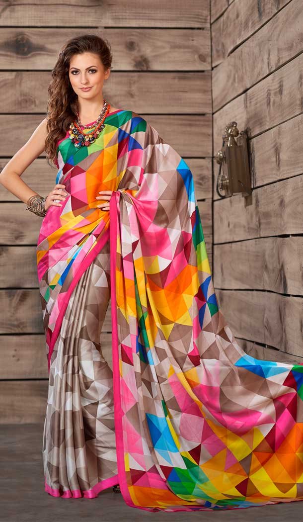 Chic Multi Color Crepe Printed Casual Party Wear Saree -780595822