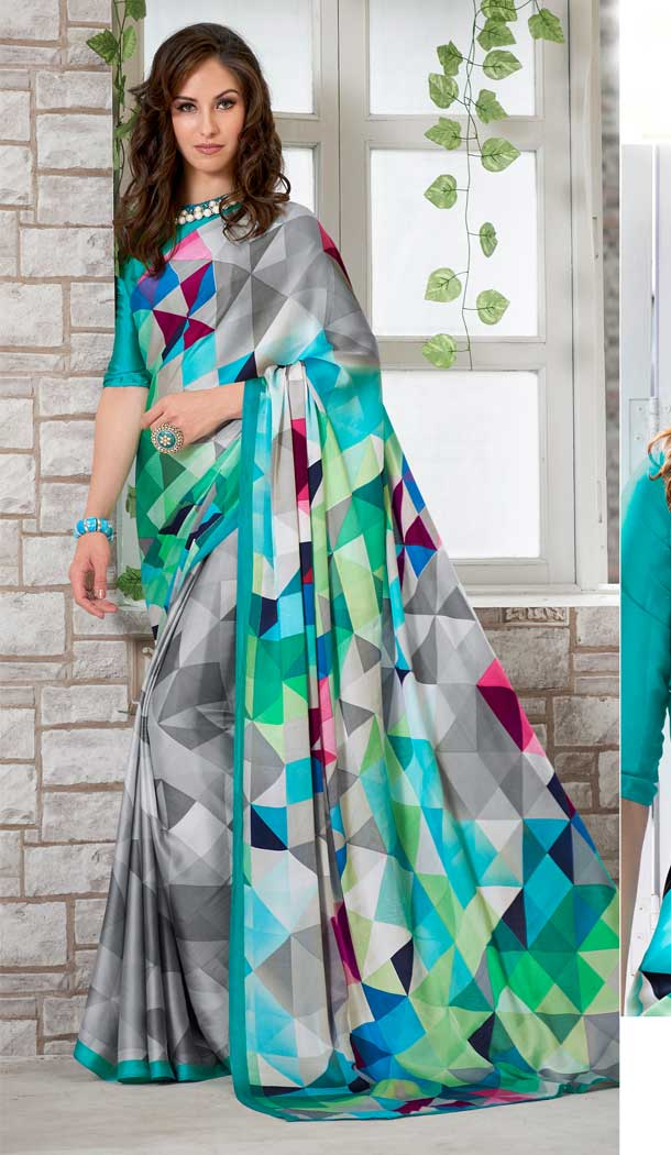 Elegant Multi Color Crepe Printed Casual Party Wear Saree -780595823