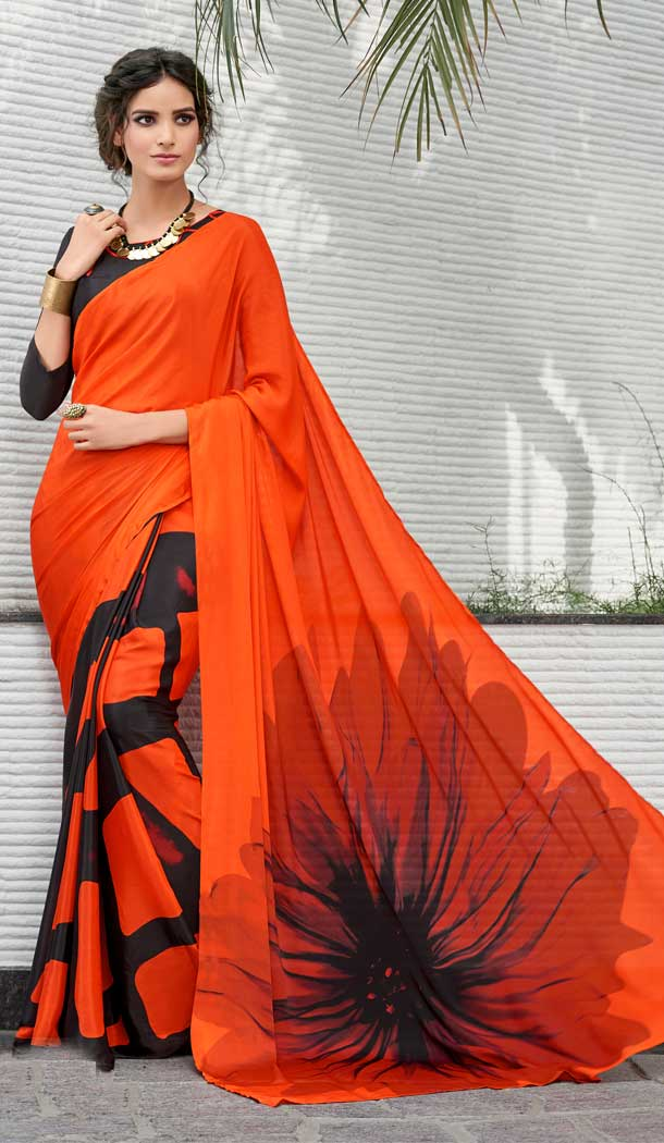 Chic Dark Orange Color Crepe Printed Casual Party Wear Saree -780595827
